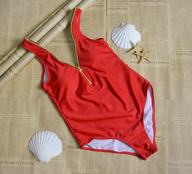 Red Zipper One-Piece Swimsuit