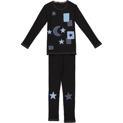 Noggiwear Girls Ribbed Denim Star 2 Piece Pajamas