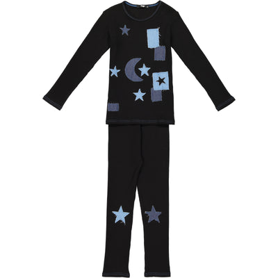 Noggiwear Boys Ribbed Denim Star 2 Piece Pajamas