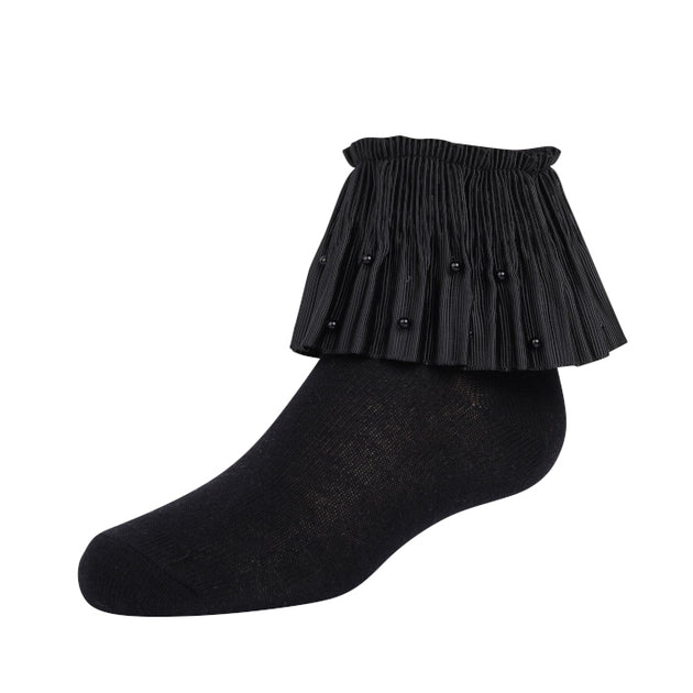 Zubii Pleated Pearl Ruffle Anklet Sock