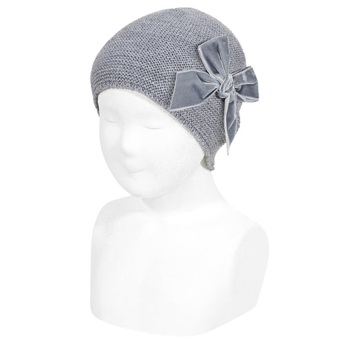 Condor Garter Stitch Knit Hat with Velvet Bow