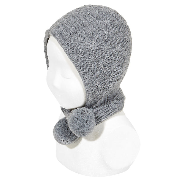Condor Textured Bonnet with Pom Poms Ties