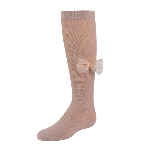 Zubii Iridescent Spark Bow Knee High Sock