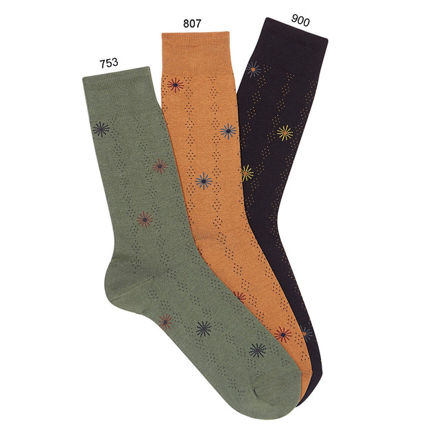 Condor Men's Starburst Embroidery Print Sock