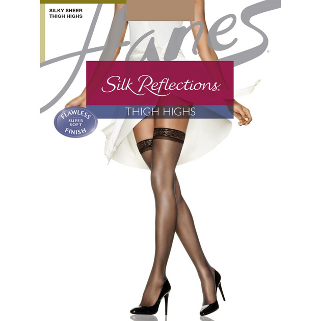 Hanes Silky Sheer Sandalfoot Thigh Highs 720
