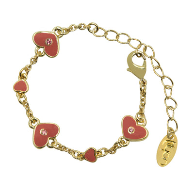 Tilyon Jewelry Big and Small Enamel Hearts Bracelet