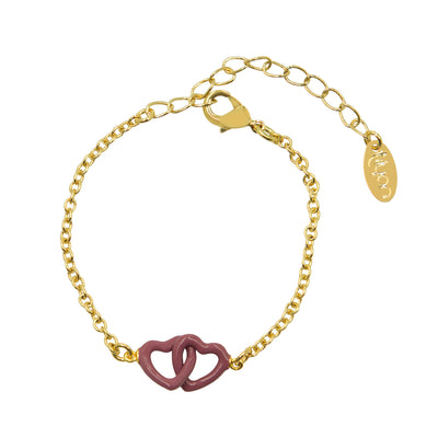 Tilyon Jewelry Connected Double Heart Bracelet