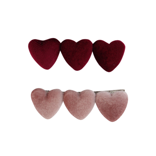 Triple Velvet Heart Clip