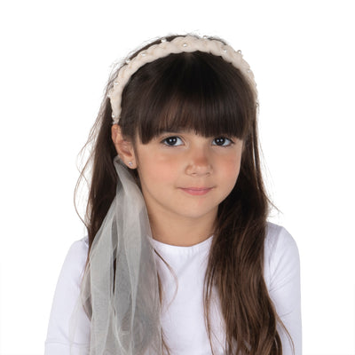 DaCée Designs Tulle Braid with Pearls Headband - No Tails
