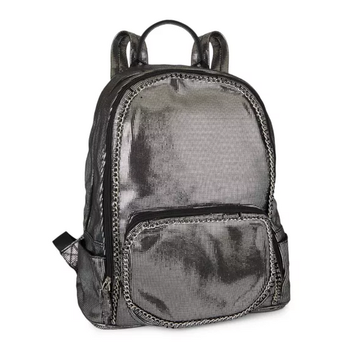 Bari Lynn Chain Metallic Backpack