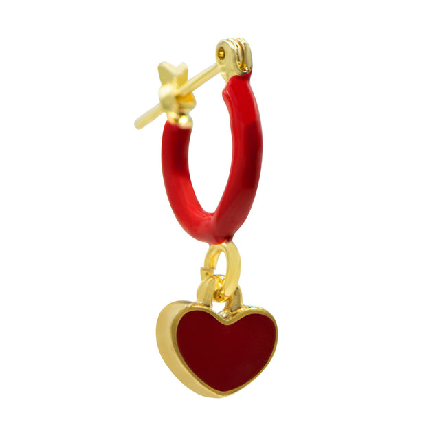 Tilyon Jewelry Hoop & Heart Earrings