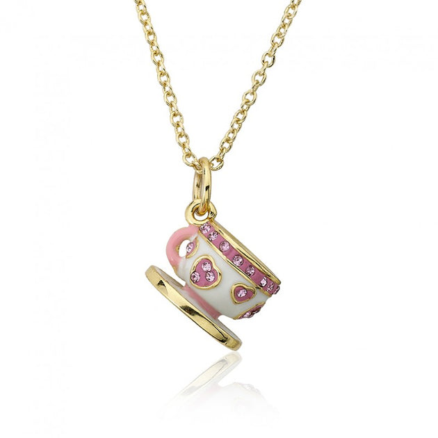 Twin Stars Tea for Two Trimmed Tea Cup Necklace