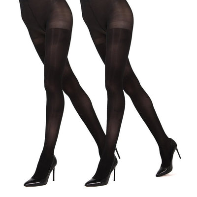 5079a3113bb7e Memoi Solid 2 Pack Control Top Tights