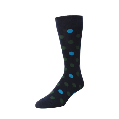 Memoi Men's Two Tone Dot Crew Sock - MMF 000018
