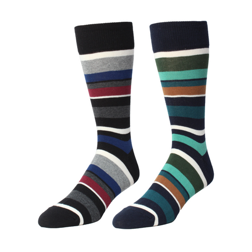 Memoi Men's T-Shirt Stripe Crew Sock - MMF 00019