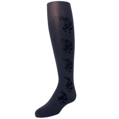 Memoi Flocked Floral Tights - MK 745