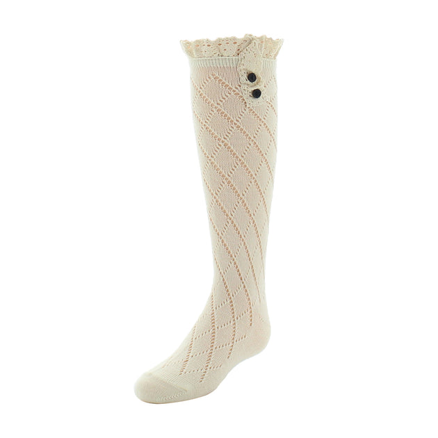 Memoi Lace Trim with Button Knee High Sock - MKF 7005