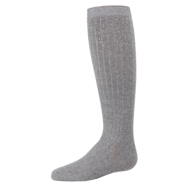 Memoi Ribbed Stone Knee High Sock - MKF 7051