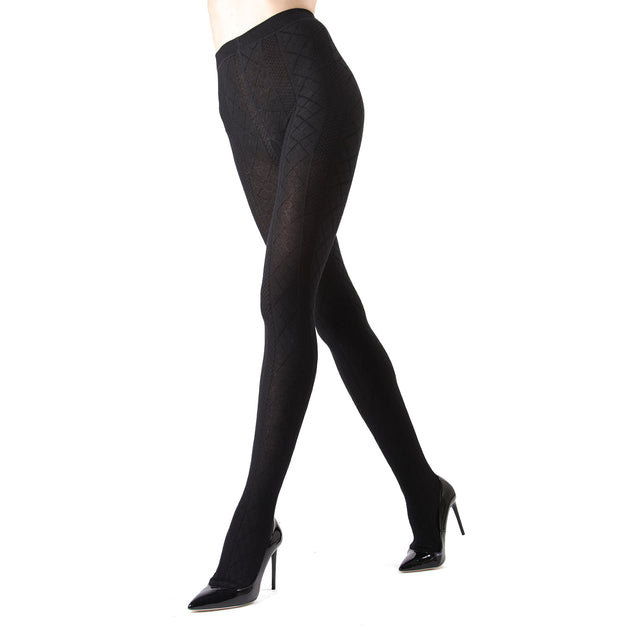 Memoi Diamonds Sweater Flat Knit Tights
