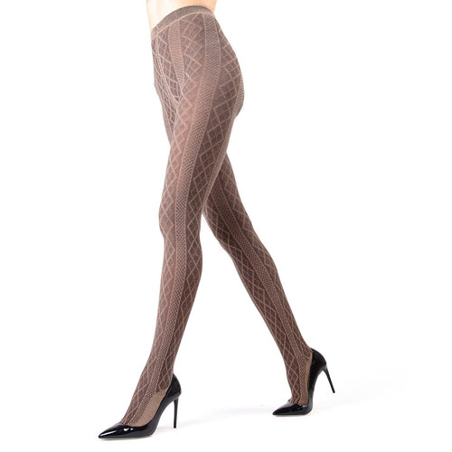 Memoi Diamonds Sweater Flat Knit Tights - MO 389