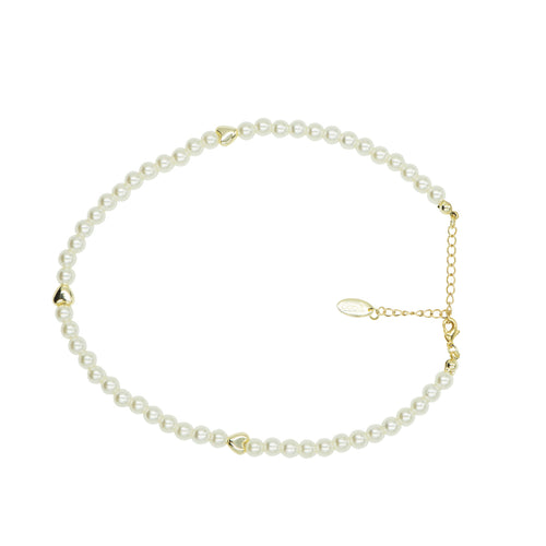 Tilyon Jewelry Pearl Necklace with Hearts