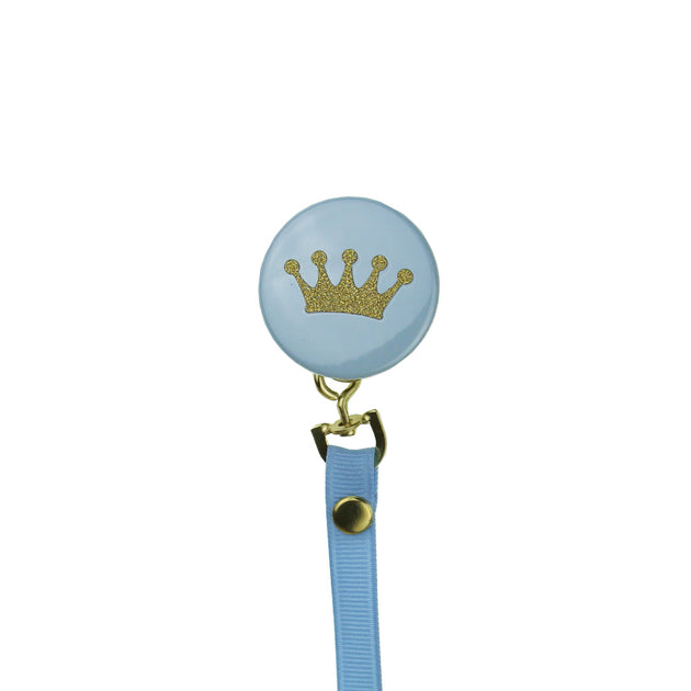 Crystal Dream Gold Glitter Crown Pacifier Clip
