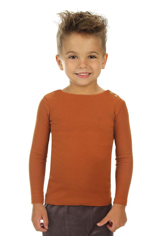 Mouche Kids Ribbed Button Tee