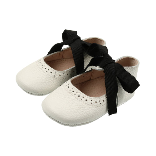 White Leather Ribbon Mary Janes