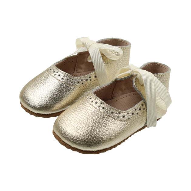 Gold Leather Ribbon Mary Janes