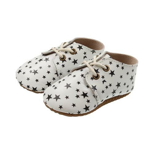 Black and White Star Leather Oxford