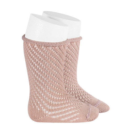 Condor Net Crochet Knee High Sock with Rolled Cuff - 2508/2