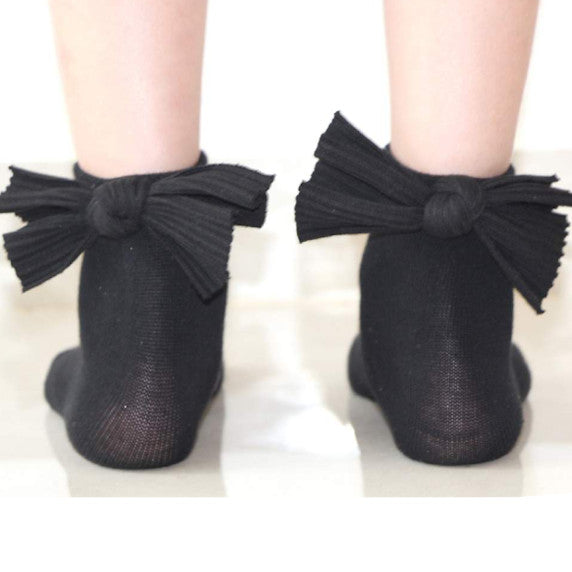 Blinq Collection Ribbed Bow Anklet Sock
