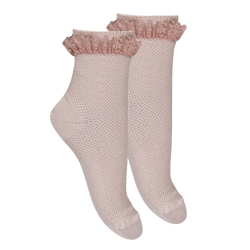 Condor Pique Sock with Pleated Lace - 2498/4