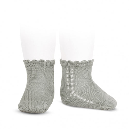 Condor Two Line Side Crochet Anklet Sock with Pearl Cuff - 2569/4