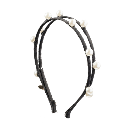 Cherie Satin Scattered Double Pearls Hard Headband