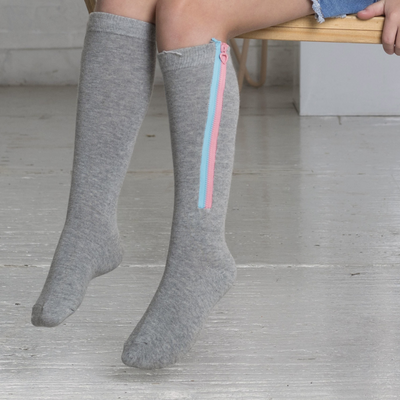 Blinq Collection Two Toned Zipper Knee High Sock