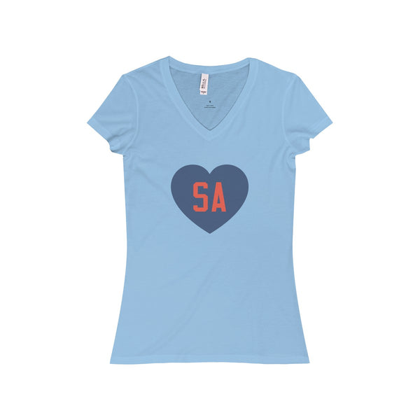 We Love SA Ladies Slim V-Neck T-Shirt (Blue/Red)