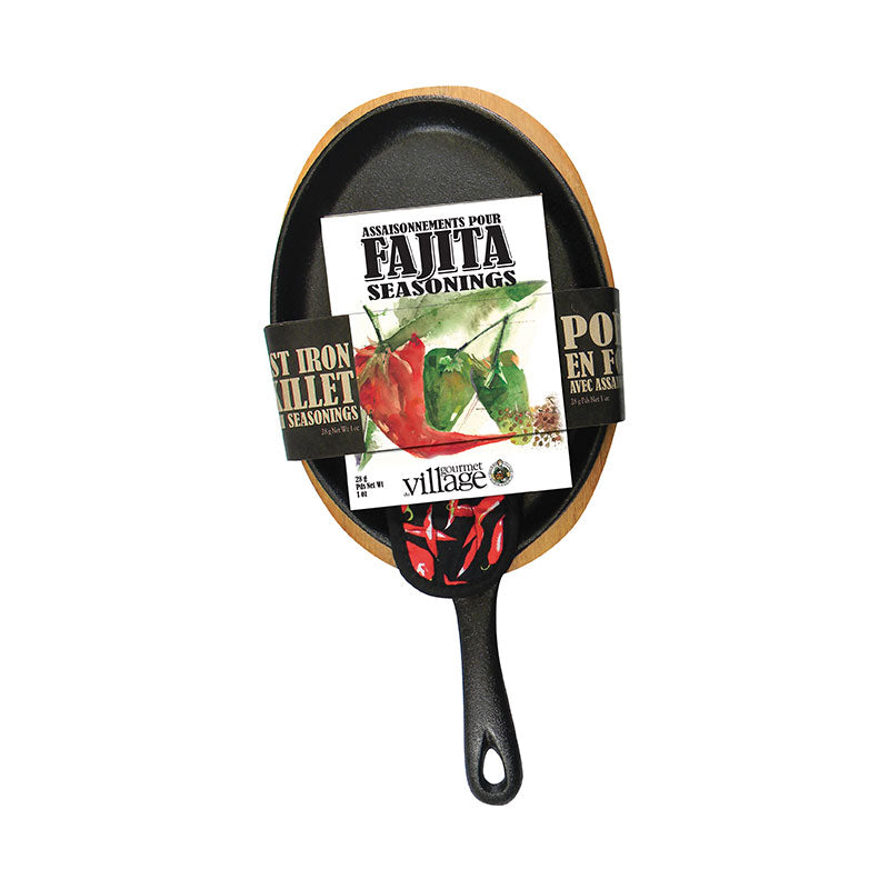 Gourmet Village Fajita Skillet Set-Cast Iron