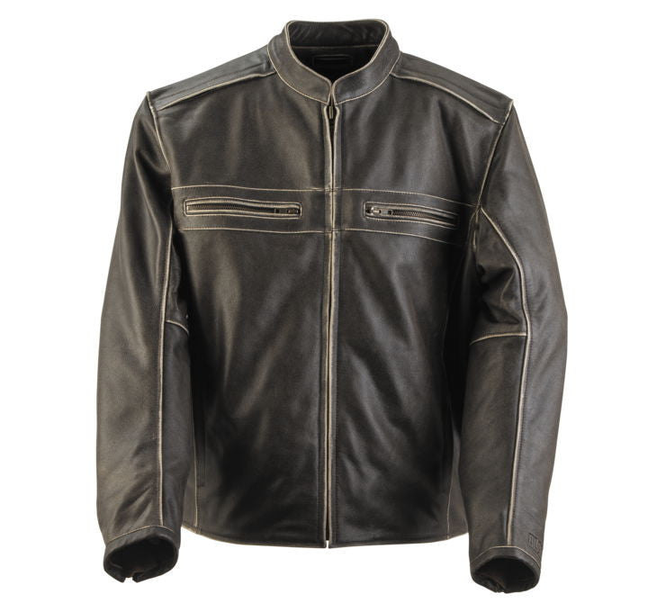 Black Brand Men's Two Lane Leather Jacket