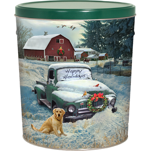 Countryside Christmas 3.5 Gallon Tin