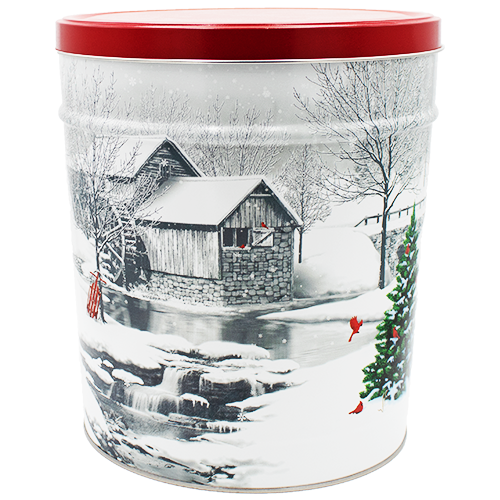 Snow Covered Mill 6.5 Gallon Tin