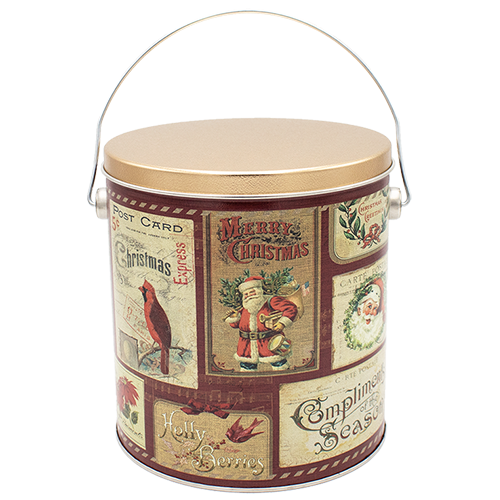 Vintage Postcards 1 Gallon Tin
