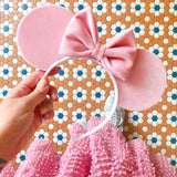 Pale Pink Velvet Mouse Ears