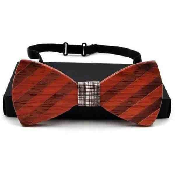 fitsmen Bow Tie Striped & Dotted Pattern Creative Designed Wooden Bow Tie