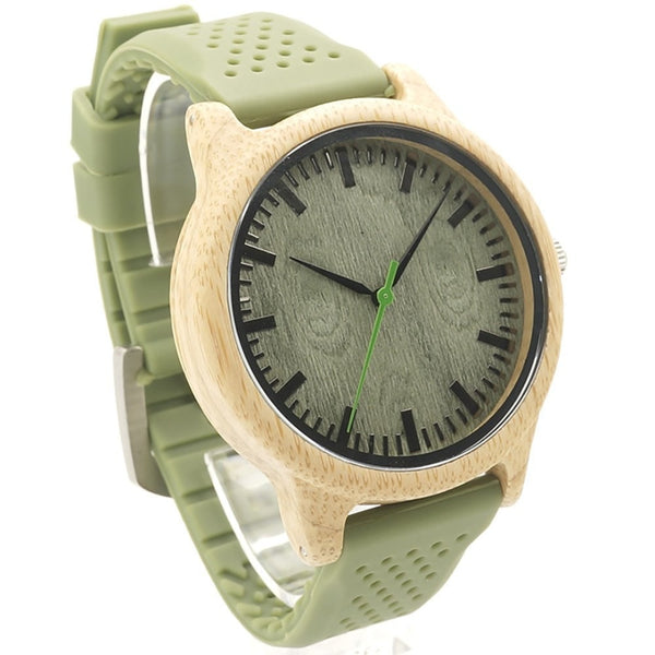 fitsmen Watch Green Unisex Wooden Watch With Soft Silicone Straps Comes With Gift Box