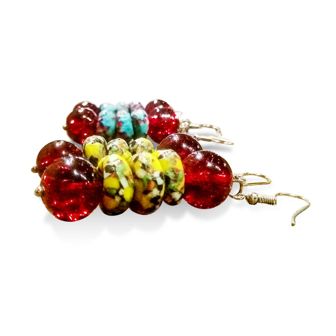 DIY beaded earrings made with blue or yellow African glass beads