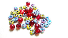 Red glass and African glass beads (blue and yellow)