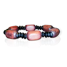 Wood bead stretch bracelet - brown square beads with round black spacers