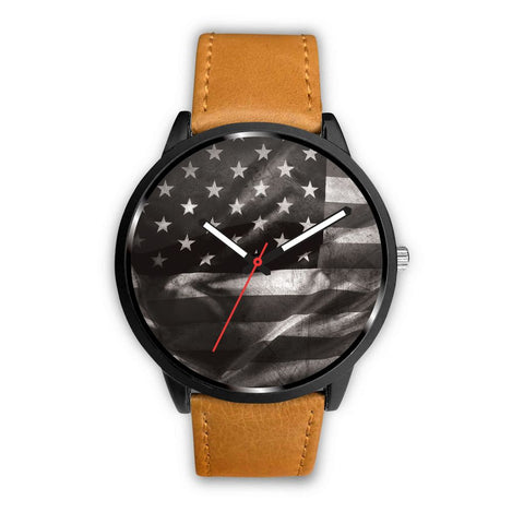 """American Flag Black & White"" Watch"