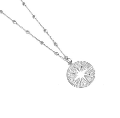 18k White Gold Diamond Pavé Compass on White Gold Lunar Chain